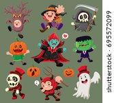 vintage halloween poster design ... | Shutterstock .eps vector #695572099