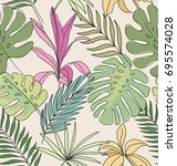 palm leaves. tropical print....   Shutterstock .eps vector #695574028