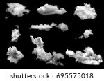 many cloud isolated on black... | Shutterstock . vector #695575018