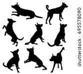 set of vector silhouettes of a... | Shutterstock .eps vector #695578090