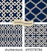 set of seamless moroccan... | Shutterstock .eps vector #695578786