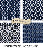 set of seamless moroccan... | Shutterstock .eps vector #695578804