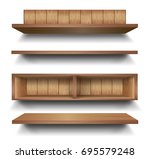 3d vector empty wooden wood... | Shutterstock .eps vector #695579248