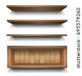 3d vector empty wooden wood... | Shutterstock .eps vector #695579260