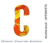 autumn fall bright orange... | Shutterstock .eps vector #695584570