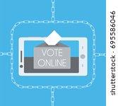 blockchain online voting... | Shutterstock .eps vector #695586046