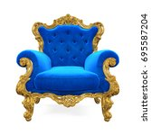 blue throne chair isolated. 3d... | Shutterstock . vector #695587204