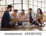 beautiful young business people ... | Shutterstock . vector #695587420