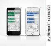 realistic smartphones set.... | Shutterstock .eps vector #695587534