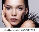close up portrait of a...   Shutterstock . vector #695603254