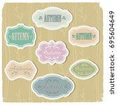 set of vintage frames of pastel ... | Shutterstock .eps vector #695604649