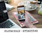 chiang mai  thailand   aug 14 ... | Shutterstock . vector #695605540