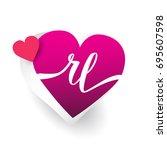 initial logo letter rl with... | Shutterstock .eps vector #695607598