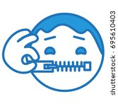 emoticon keeps his mouth shut... | Shutterstock .eps vector #695610403