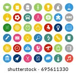 school and education icons set | Shutterstock .eps vector #695611330