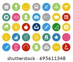 school and education icons set | Shutterstock .eps vector #695611348