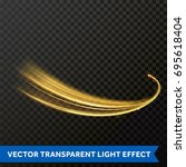glowing light line or gold... | Shutterstock .eps vector #695618404
