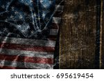 usa flag on a wood surface   Shutterstock . vector #695619454