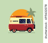 colorful surfing van flat style ...   Shutterstock .eps vector #695632078