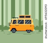 camper van in the forest flat... | Shutterstock .eps vector #695632093