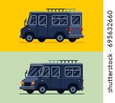 camper van trailler vector... | Shutterstock .eps vector #695632660