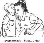 vector art drawing of cute... | Shutterstock .eps vector #695632780