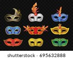 carnival mask   realistic... | Shutterstock .eps vector #695632888