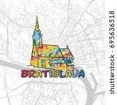 bratislava  slovakia  colorful... | Shutterstock .eps vector #695636518