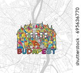 budapest  hungary  colorful map ... | Shutterstock .eps vector #695636770