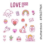 love awesome sticker set ... | Shutterstock .eps vector #695637964