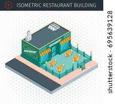 isometric restaurant. 3d... | Shutterstock .eps vector #695639128