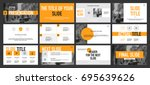 gray and yellow elements on a... | Shutterstock .eps vector #695639626