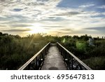 the bridge walkway sky... | Shutterstock . vector #695647813