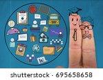 graphic anthropomorphic smiley... | Shutterstock . vector #695658658