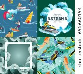 set of water extreme sports... | Shutterstock .eps vector #695660194