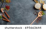 various spices on vintage... | Shutterstock . vector #695663644