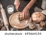 the preparation of bread  fresh ...   Shutterstock . vector #695664154