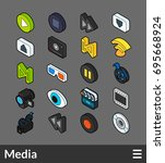 isometric outline color icons ... | Shutterstock .eps vector #695668924