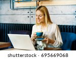 modern business woman is... | Shutterstock . vector #695669068