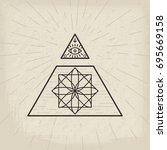 all seeing eye and magic... | Shutterstock .eps vector #695669158