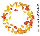 circle wreath frame of oak leaf ... | Shutterstock .eps vector #695669698
