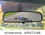 hit and run concept. view on...   Shutterstock . vector #695671168