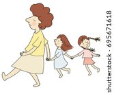 vector illustration of mom and... | Shutterstock .eps vector #695671618