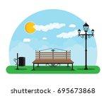 city park concept  wooden bench ... | Shutterstock . vector #695673868