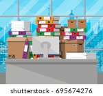 pile of paper documents and... | Shutterstock . vector #695674276