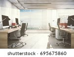 new office room interior with... | Shutterstock . vector #695675860
