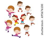 variation of pose playing kids... | Shutterstock .eps vector #695676100