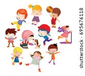 variation of pose playing kids...   Shutterstock .eps vector #695676118