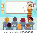 colorful stickman illustration... | Shutterstock .eps vector #695684539