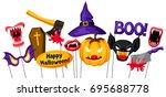 halloween photo booth props.... | Shutterstock .eps vector #695688778